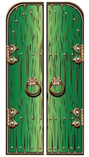 Green Magical Double Doors Lifesize Cardboard Cutout 191cm