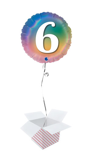 Age 6 Colourful Rainbow Holographic Round Foil Helium Balloon - Inflated Balloon in a Box