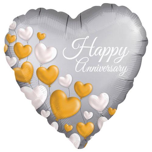 Happy Anniversary Satin Luxe Heart Foil Helium Balloon 45cm / 18 in