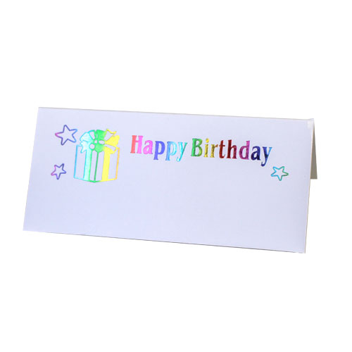 Happy Birthday Multi Coloured Foil Print Place Cards - Pack of 10