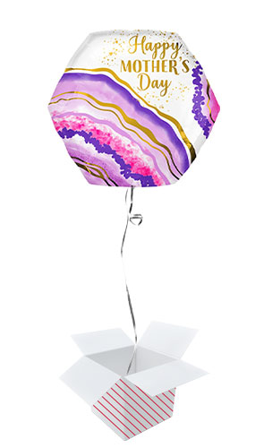 Happy Mother's Day Watercolour Geode Helium Foil Giant Balloon - Inflated Balloon in a Box