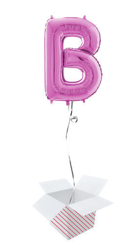 Hot Pink Letter B Helium Foil Giant Balloon - Inflated Balloon in a Box