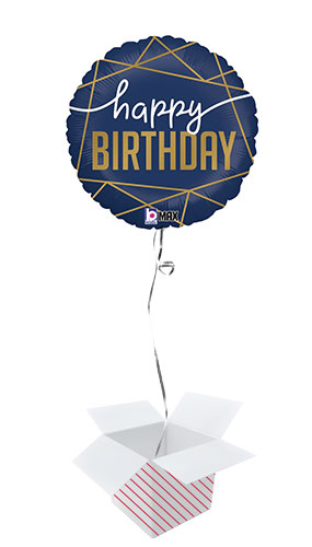 Navy Birthday Round Foil Helium Balloon- Inflated Balloon in a Box