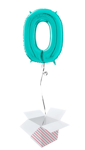 Tiffany Blue Number 0 Helium Foil Giant Balloon - Inflated Balloon in a Box