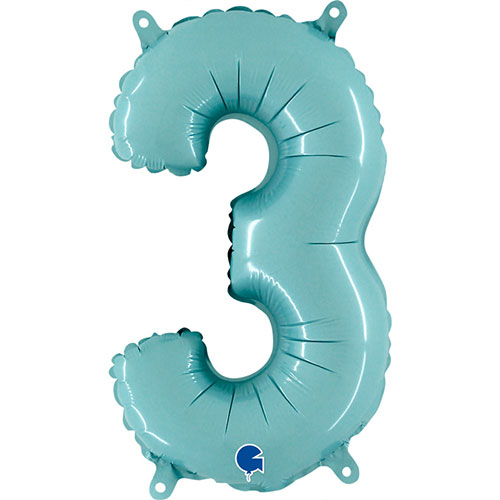 Number 3 Pastel Blue Air Fill Foil Balloon 35cm / 14 in