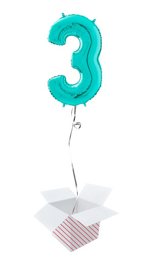 Tiffany Blue Number 3 Helium Foil Giant Balloon - Inflated Balloon in a Box