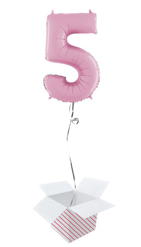 Pastel Pink Number 5 Helium Foil Giant Balloon - Inflated Balloon in a Box
