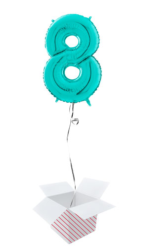 Tiffany Blue Number 8 Helium Foil Giant Balloon - Inflated Balloon in a Box