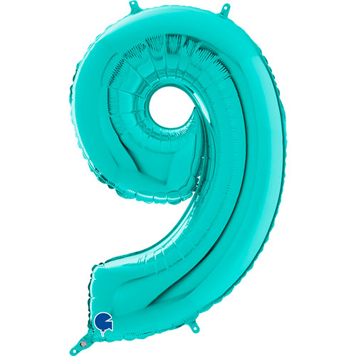 Tiffany Blue Number 9 Helium Foil Giant Balloon 66cm / 26 in