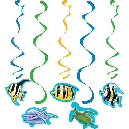 Ocean Party Hanging Swirl Decorations - Pack of 5