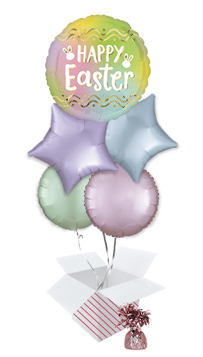 Ombre Happy Easter Balloon Bouquet - 5 Inflated Balloons In A Box