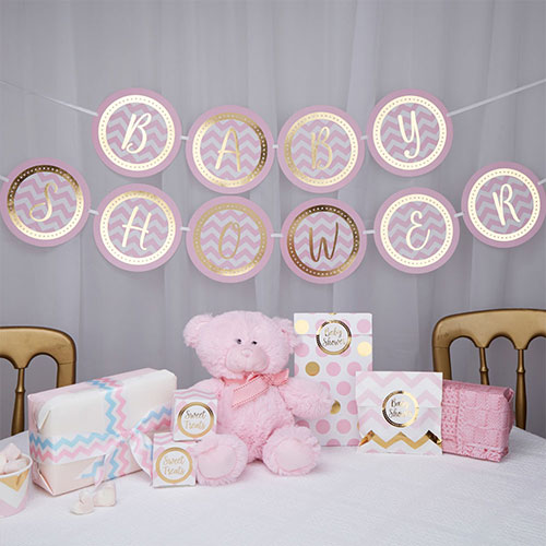 Pink Chevron Baby Shower Gold Foiled Cardboard Banner 250cm Product Gallery Image