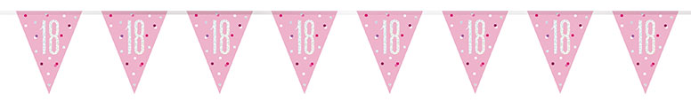 Pink Glitz Age 18 Holographic Foil Pennant Bunting 274cm