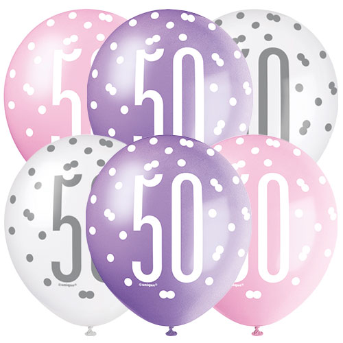 Pink Glitz Age 50 Assorted Biodegradable Latex Balloons 30cm / 12 in - Pack of 6
