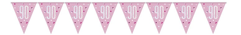 Pink Glitz Age 90 Holographic Foil Pennant Bunting 274cm