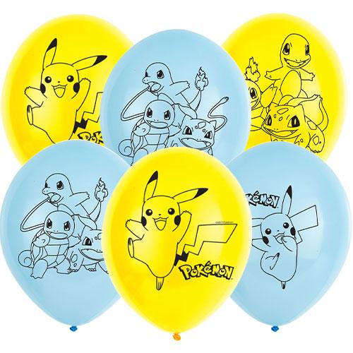 Pokemon Biodegradable Latex Helium Balloons 28cm / 11 in - Pack of 6