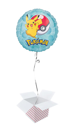 Pokemon Round Foil Helium Balloon - Inflated Balloon in a Box