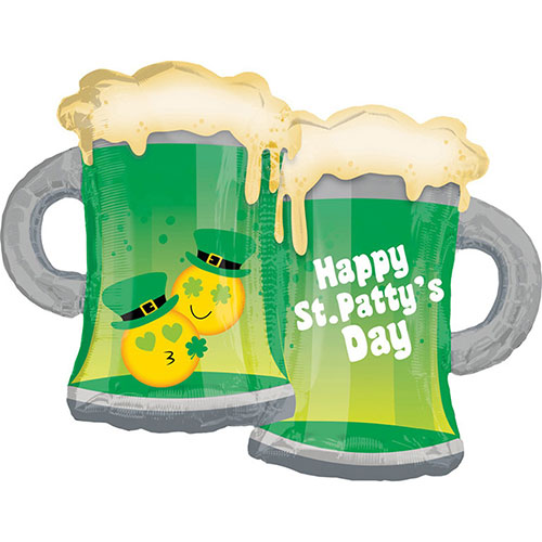 St. Patrick's Day Emoji Mugs Supershape Helium Foil Balloon 81cm / 32 in