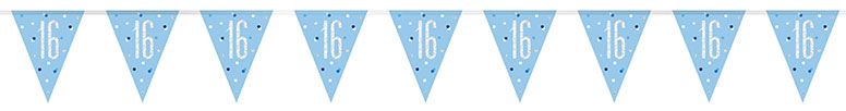 Blue Glitz Age 16 Holographic Foil Pennant Bunting 274cm