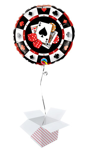 Casino Two-Sided Design Round Qualatex Foil Helium Balloon - Inflated Balloon in a Box