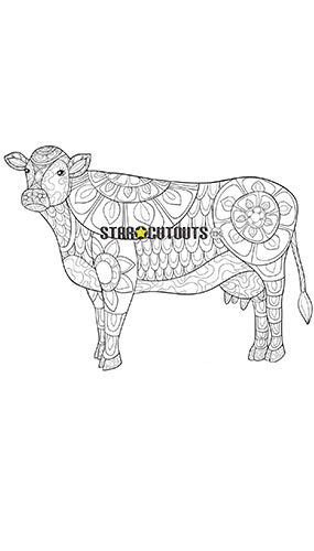 Cow Design Colour Craft Star Mini Cardboard Cutout 69cm