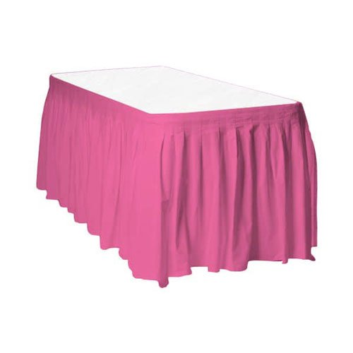 Hot Pink Plastic Table Skirt - 426cm x 74cm Product Image