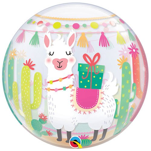 Llama Birthday Party Bubble Helium Qualatex Balloon 56cm / 22 in Product Gallery Image