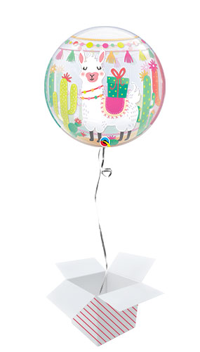 Llama Birthday Party Bubble Helium Qualatex Balloon - Inflated Balloon in a Box Product Gallery Image