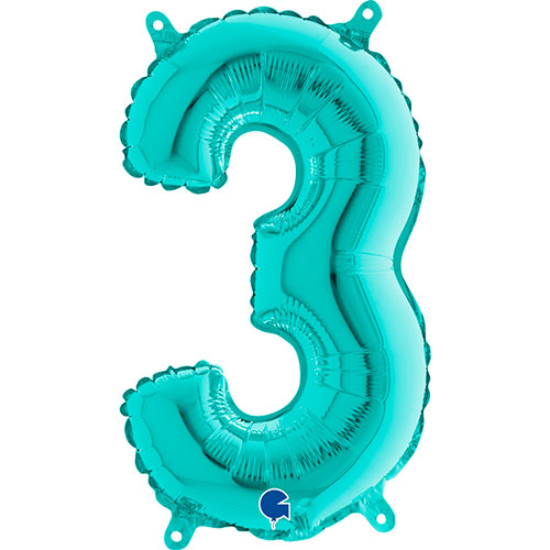 Number 3 Tiffany Blue Air Fill Foil Balloon 36cm / 14 in