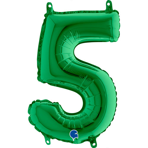 Number 5 Green Air Fill Foil Balloon 35cm / 14 in