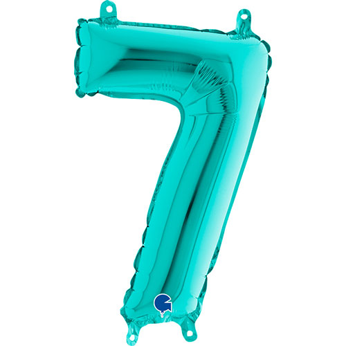 Number 7 Tiffany Blue Air Fill Foil Balloon 36cm / 14 in