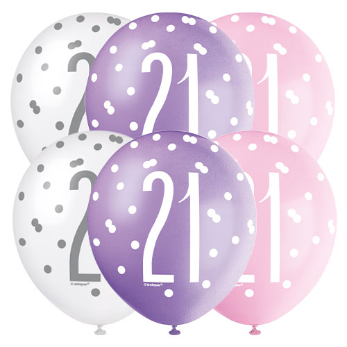 Pink Glitz Age 21 Assorted Biodegradable Latex Balloons 30cm / 12 in - Pack of 6