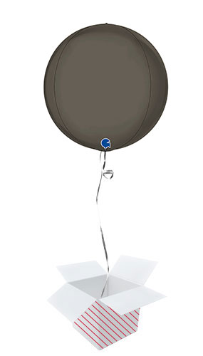 Platinum Grey 4D Large Globe Foil Helium Balloon - Inflated Balloon in a Box