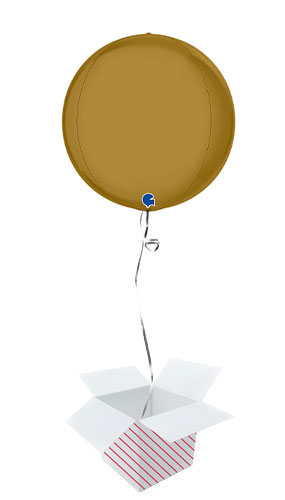 Satin Gold 4D Large Globe Foil Helium Balloon - Inflated Balloon in a Box