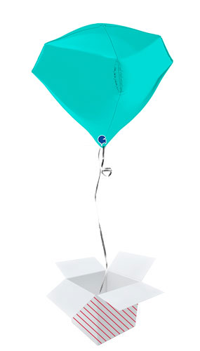 Tiffany Blue 4D Gem Shape Foil Helium Balloon - Inflated Balloon in a Box