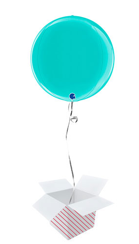 Tiffany Blue 4D Globe Foil Helium Balloon - Inflated Balloon in a Box
