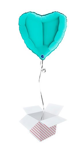 Tiffany Blue Heart Shape Foil Helium Balloon - Inflated Balloon in a Box