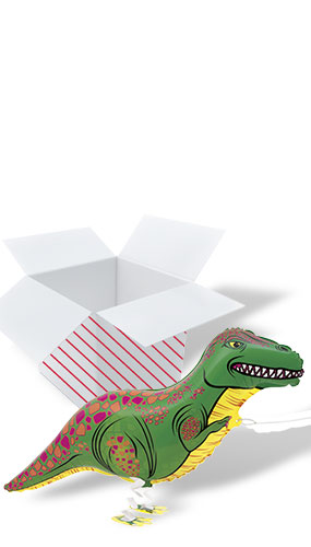 Walking Pet T-Rex Foil Helium Balloon - Inflated Balloon in a Box