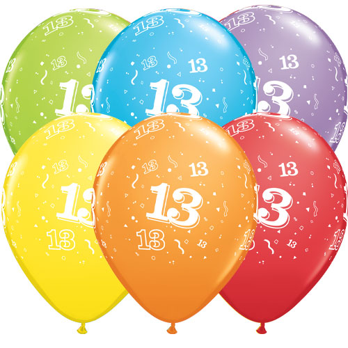 Age 13 Assorted Latex Helium Qualatex Balloons 28cm / 11 in - Pack of 6