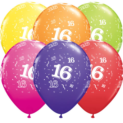 Age 16 Assorted Latex Helium Qualatex Balloons 28cm / 11 in - Pack of 6
