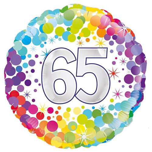 Age 65 Colourful Confetti Round Foil Helium Balloon 46cm / 18 in