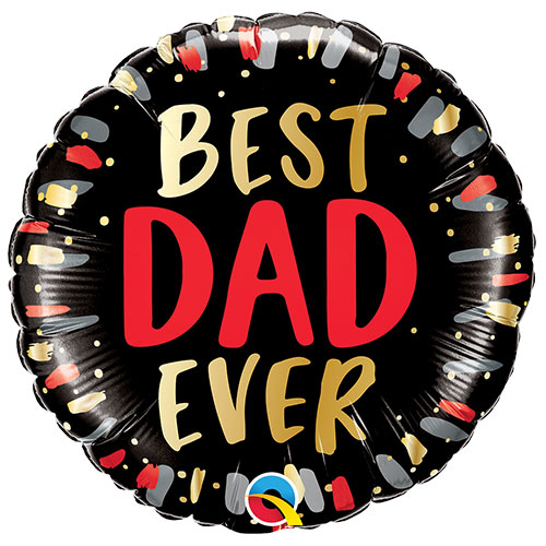 Best Dad Ever Father's Day Round Foil Helium Qualatex Balloon 46cm / 18 in