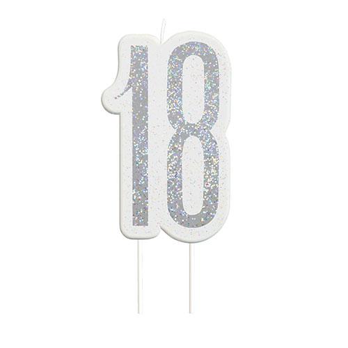 Black Glitz Silver Age 18 Birthday Candle 9cm