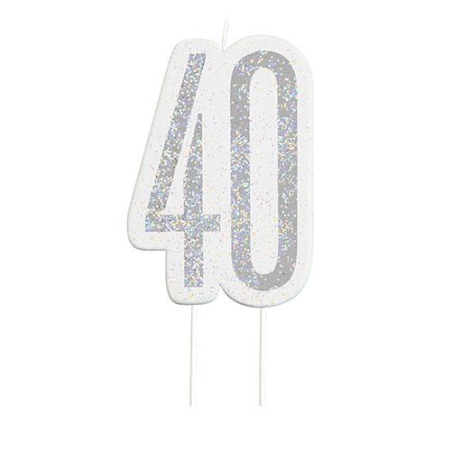 Black Glitz Silver Age 40 Birthday Candle 9cm