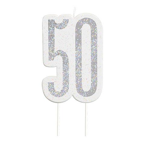 Black Glitz Silver Age 50 Birthday Candle 9cm