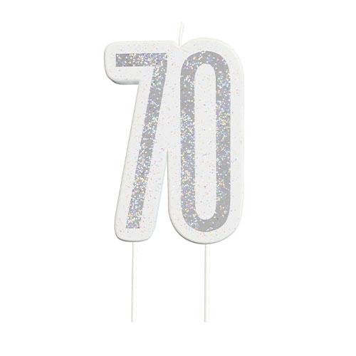 Black Glitz Silver Age 70 Birthday Candle 9cm