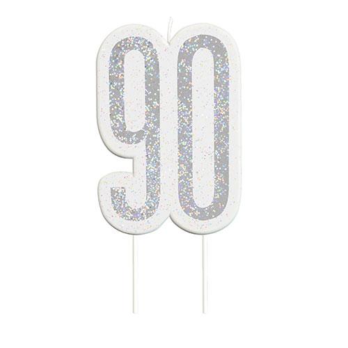 Black Glitz Silver Age 90 Birthday Candle 9cm