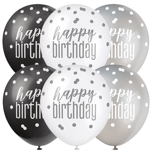 Black Glitz Happy Birthday Assorted Biodegradable Latex Balloons 30cm / 12 in - Pack of 6