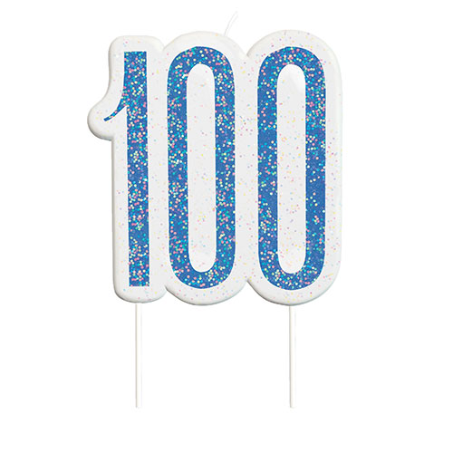 Blue Glitz Age 100 Birthday Candle 9cm