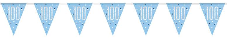 Blue Glitz Age 100 Holographic Foil Pennant Bunting 274cm